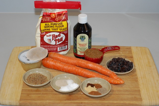 Ingredients for Vanilla Chai Carrot Muffins