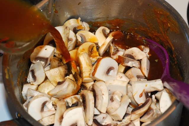 Add mushrooms and vegetable stock