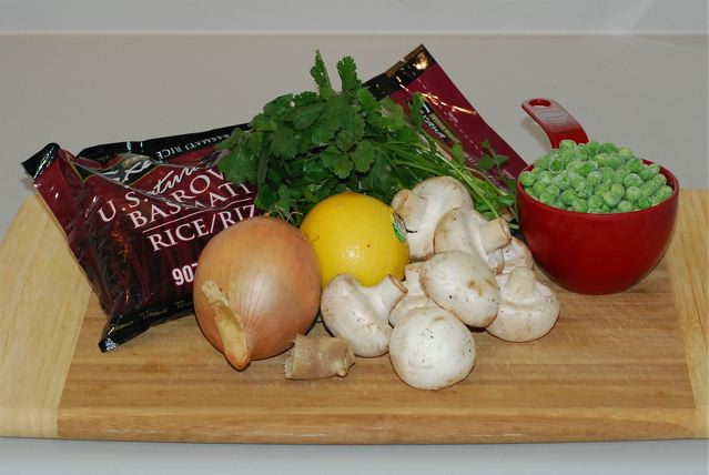 Ingredients for Masala Rice Pilaf with Mushrooms and Peas