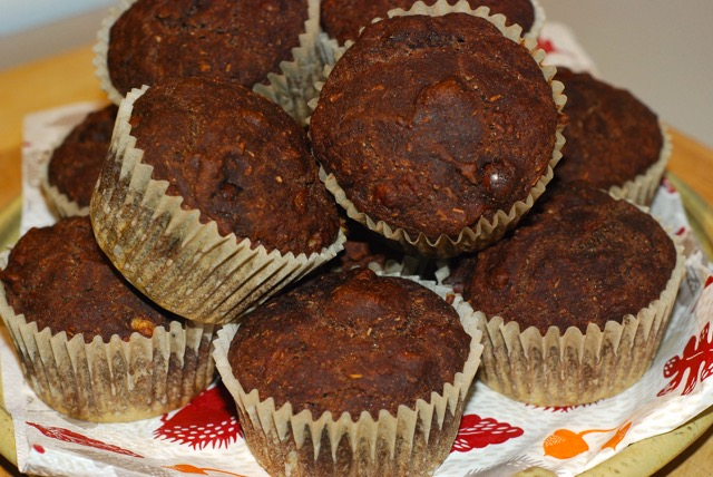 Chocolate Banana Muffins / Gluten-Free, Oil-Free, Vegan