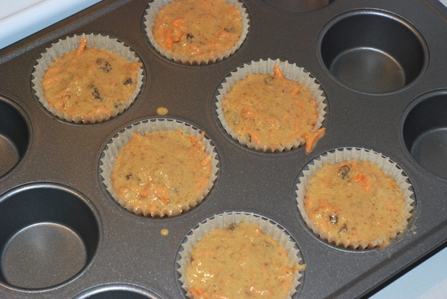 Fill each muffin cup liner with 1/4 cup of batter