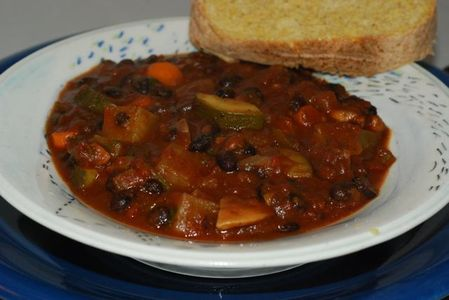 Black Bean and Potato Chili with gluten free cornbread