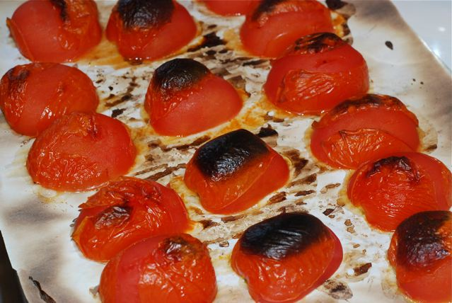 Roasted tomatoes fresh out of the oven