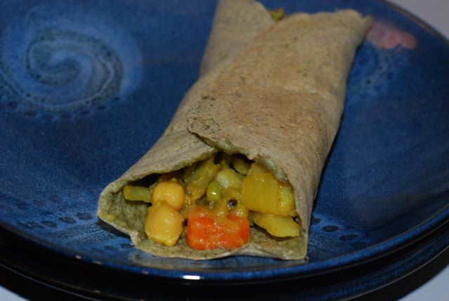 Mung Bean Crepe Filled with Spiced Cabbage and Peas with Potatoes