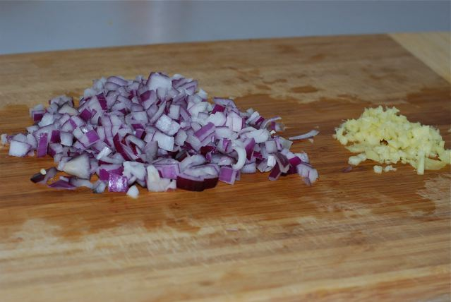FInely chopped red onion and ginger