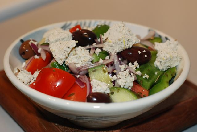 Homemade Soy Feta and Greek Salad ready for supper