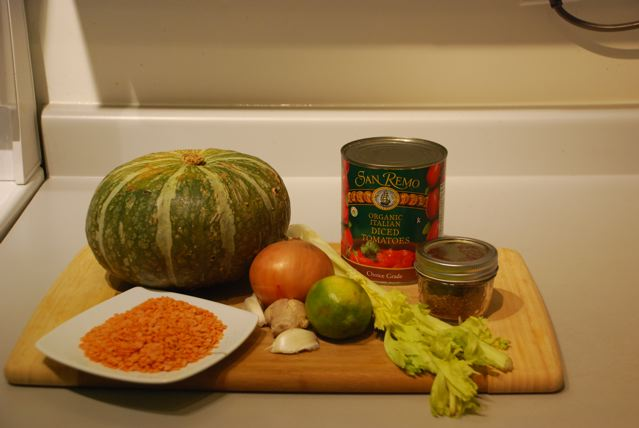 Ingredients for Spicy Tomato and Kabocha Squash Soup
