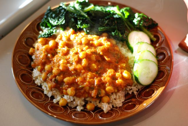 Chana Masala on brown rice in the sunlight