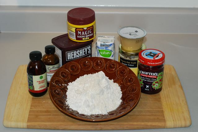 Ingredients for Chocolate Cherry Linzer Cookies / Gluten-Free, Oil-Free, Vegan minus the sugar