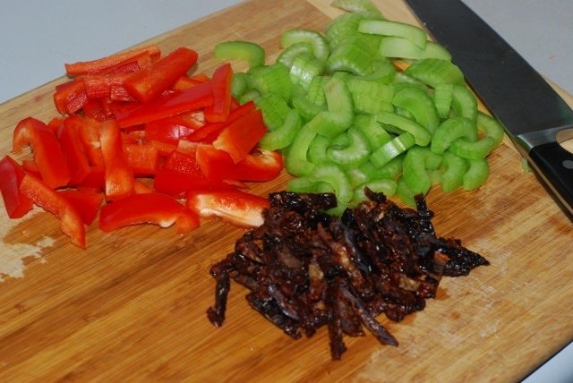 Chopped red pepper, celery and sund-dried tomatoes