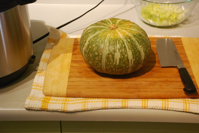 Kabocha squash ready for cutting