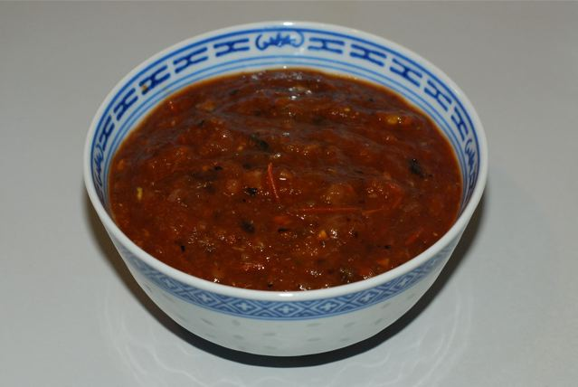 Finished salsa in a bowl