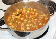 Finished Mushroom and Pea Masala with Tofu Paneer in the pot