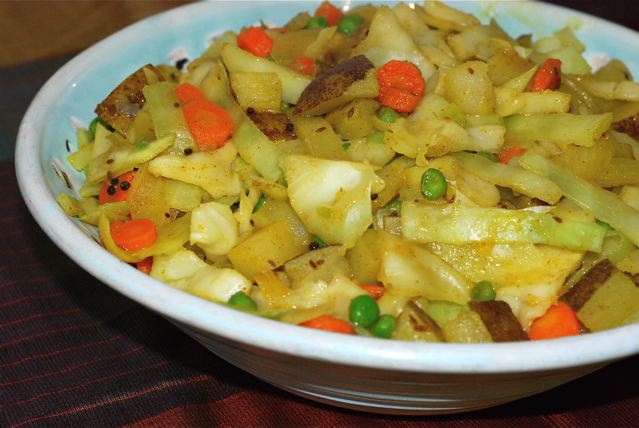 Spiced Cabbage and Peas with Potatoes