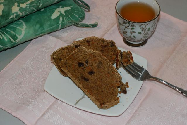 Slices of Sweet Potato Quick Bread on plate served with tea