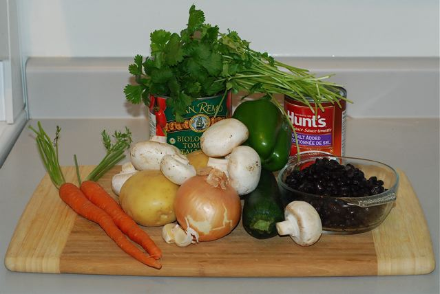 Ingredients for Black bean and Potato Chili