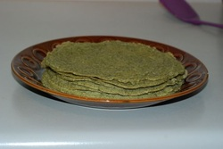 Stack of cooked mung bean crepes