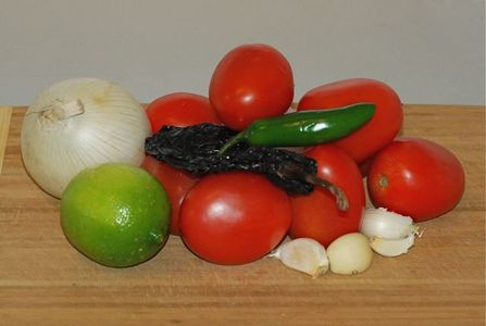 Ingredients for Smokey Roasted Tomato and Ancho Chili Salsa