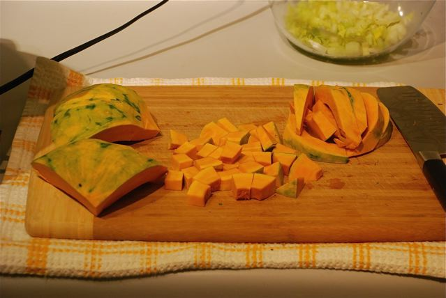 kabocha squash peeled and chopped