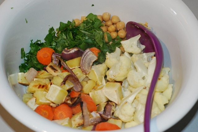 Combine vegetables in a mixing bowl