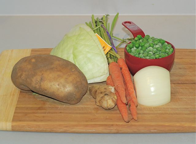 Ingredients for Spiced Cabbage and Peas with Potatoes