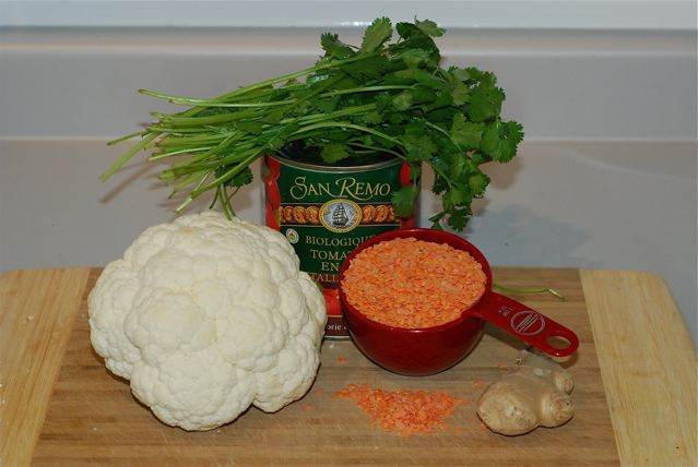 Ingredients for Cauliflower Dahl Soup