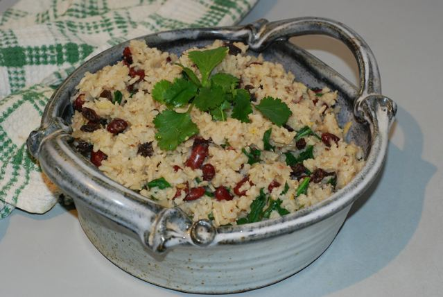 Spinach and Kidney Bean Pulao transfered to a serving dish