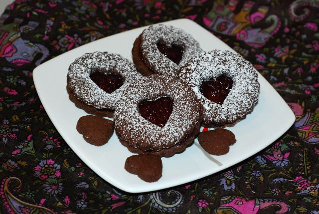 Plate of 4 Chocolate Cherry Linzer Cookies / Gluten-Free, Oil-Free, Vegan