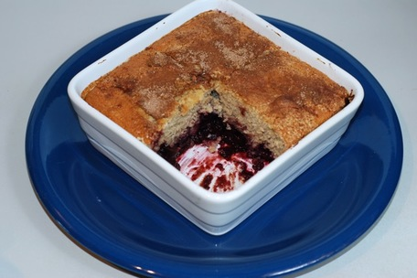 Serving the finished Cherry Cobbler / Fat-Free, Gluten-Free, Vegan
