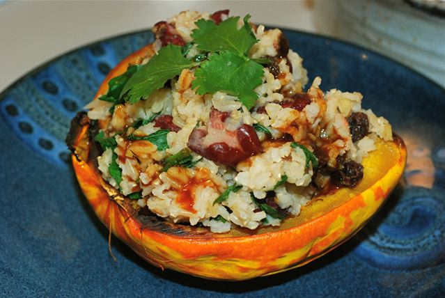 Roasted squash stuffed with Spinach and Kidney Bean Pulao