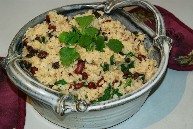 Spinach and Kidney Bean Pulao / Fat-Free, Gluten-Free, Oil-Free, Vegan