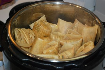 Finished tamales in the Instant Pot