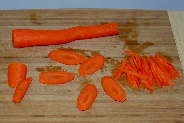 Carrots peeled, slice diaginally, and cut into thin strips