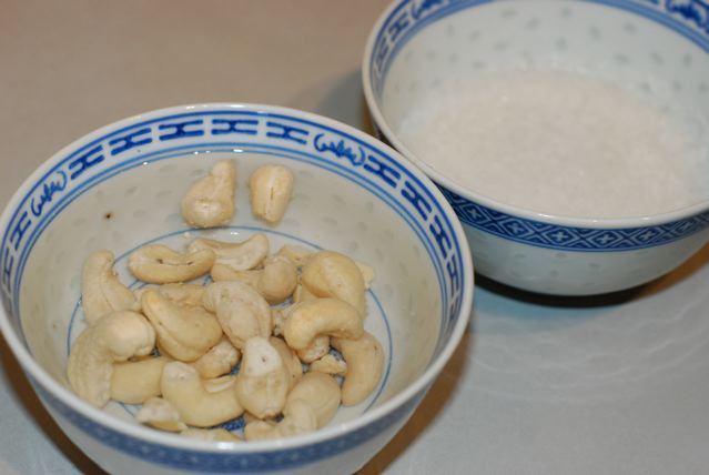 Soaking cashews and coconut