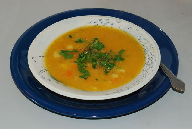 Creamy Carrot Parsnip soup with Ginger and Fennel is served